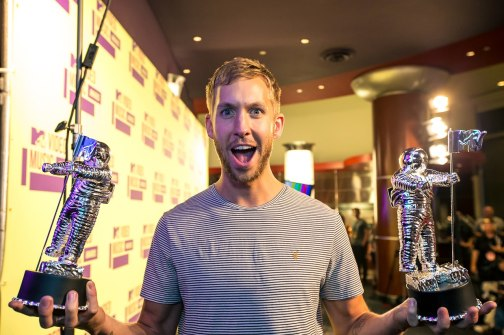 Calvin Harris displaying his awards at the MTV Video Music Awards on September 6, 2012.