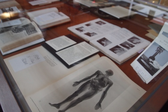 Some of the works on display in the exhibition at the University of Wisconsin's Ebling Library that documents the history of radiation and public health.