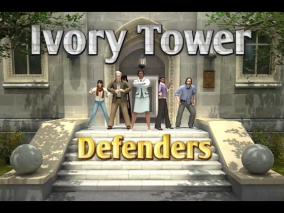 The opening menu to Ivory Tower Defenders showing the cast of playable characters: TA, Professor, Dean, Assistant Professor and Dissertator.